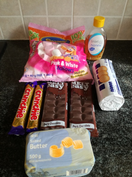 Ingreadients for Rocky Chocolate Golden Syrup and Marshmallows